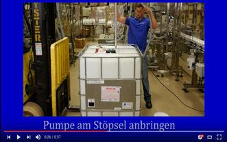 Transportbehälter aus Plastik: Öffnung und Dosierung mit Pumpe