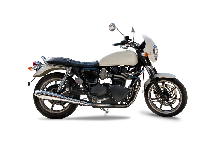 Triumph motorcycle isolated in white